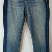 New Blanknyc Womens Jeans Size 30 the Reade Crop Skinny Tuxedo Stripe Blue Photo