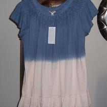 New Blue Blush Pink Dip Tie Dyed Embroidered Lace Tunic Top Sz L Indigo Thread Photo