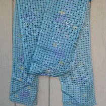 New Blue Fish Open Weave Scarf Blue With Flower Prints Os Photo