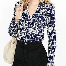 New Blue Womens Express Original Convertible Graphic Grid Portofino Shirt Medium Photo