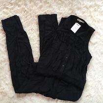 New Blush Noir Women's Sz L Black Fringe Sleeveless Romper Jumpsuit Overall Photo