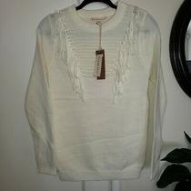 New Blush Noir Womens Fringe Detail Long Sleeve Sweater Size Xs Photo