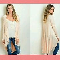 New  Blush Peach Cascade Cardigan S M L Like Forever 21 Photo