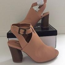 New Blush Peep-Toe Ankle-Strapped Chunky Heels Size 8 Photo