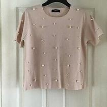 New Blush Pink S/sleeve Jumper With All Over Multi Size Pearls Size L by Zara Photo