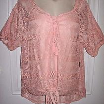 New Blush Pink Vintage Lace Tassel High-Low Boho Peasant Top Blouse 3x 26/28 Photo
