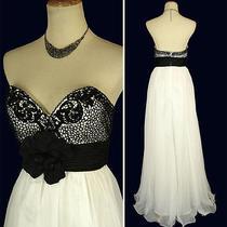 New Blush Prom 9348 White /black Evening Formal Homecoming Women Dress 4 Photo