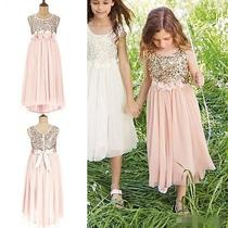 New Blush Sequin Wedding Party Formal Flower Girl Dress Baby Pageant Gown Custom Photo