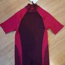 New Bnwt 70 Falke Midi Hi Neck Compression Top T Shirt Sz Xs - S Purple & Pink Photo