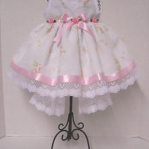 New Born Fancy  Pink & White Baby Dress W/ Headband  & Bootie 0-3 Photo