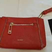 New Botkier Orange Leather Clutch Zippered Wristlet Small Purse Bag Photo