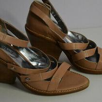 New Botkier Size 6/ 36 Beige Leather Sandals Block High Heel 3.5