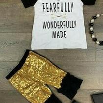 New Boutique Fearfully Wonderfully Made Gold Shorts Girls Outfit Size 8-9 Photo