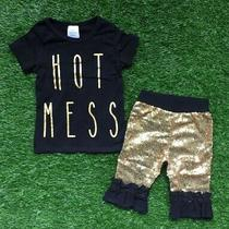 New Boutique Hot Mess Gold Ruffle Shorts Girls Outfit Size 8-9 Photo
