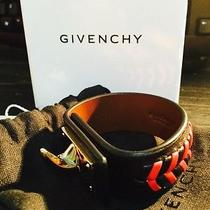 New Boxed Givenchy Lamb Leather Shark Tooth Bracelet Black Red Gold Chain Wrist Photo