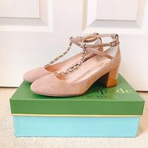 New/boxed Kate Spade Blush Suede Block-Heel Ankle Strap Pumps Size 6.5 Photo
