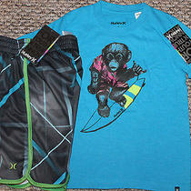 New Boys Hurley Outfit (Logo Shirt Athletic Shorts Colorful Monkey) - Size 4 Photo
