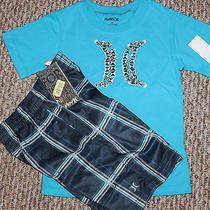 New Boys Hurley Outfit (Logo Shirt Plaid Shorts Blue) - Size 4t Photo
