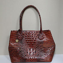 New Brahmin Anytime Pecon Croc Brown Embossing Leather Shoulder Bag Tote Purse Photo