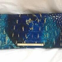 New Brahmin Melbourne Ady Croc Embos Leather Slim Wallet Clutch Phthalo Blue Photo