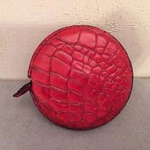 New Brahmin Tape Measure Red Croc Embossed Leather Rare Photo