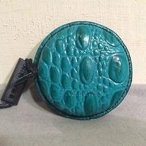 New Brahmin Tape Measure Teal Peacock Croc Embossed Leather Rare Nwt Photo