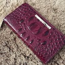 New Brahmin Wallet Suri Zip Around Clutch Black Cherry Red Purple Croc Leather Photo
