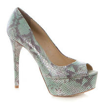 New Brian Atwood Snakeskin Peeptoe Platform Pumps 40/9 Photo