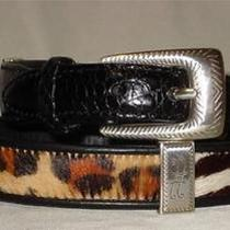 New Brighton Animal Print Pony Hair Croco Embossed Black Leather Belt Sz M L 32 Photo