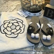 New Brighton Black Flower Flip Flops Sandals Size 8m Photo