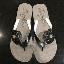New Brighton Black Flower Flip Flops Sandals Size 9-9.5 Photo