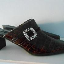 New Brighton Brown Embossed Croc Pattern Leather Tudor Heels Size 9 N Narrow Photo