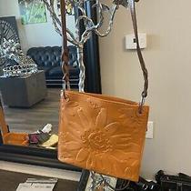 New Brighton Brown Leather Flower Cross Body Purse Photo