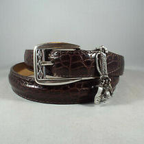 New Brighton Brown Leather Moc Croc Embossed Golf Charms Belt  Women Ml/32 Photo