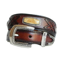 New Brighton Brown Leather Zoo Concho Taper Belt  Size 26  M40555 Photo