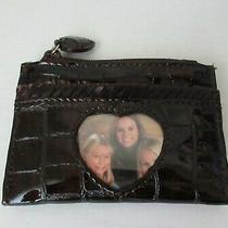 New Brighton Card Coin Case Brown Patent Croc Leather Id Photo Holder Photo