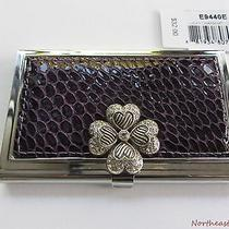New Brighton Lucky Charm Metal Business Card Hard Case Shamrock Clover Purple  Photo