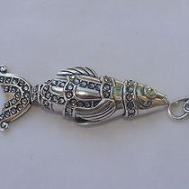 New Brighton Neptune Fish Silver & Marcasite Key Chain Fob  Photo