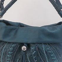 New Brighton Nina Leather Handbag Retail 425 Teal Raised & Etched Design Nwt  Photo