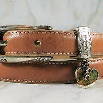 New Brighton Tan Leather Belt Boho Hippie Heart Charms Women's Ml 32 Made in Usa Photo