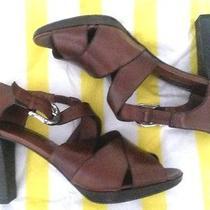 New Brighton Vogue Heels Size 9.5m Caramel Brown Leather Strappy High Heel Photo