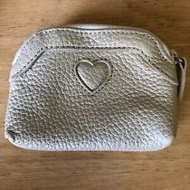 New Brighton White /light Beige Leather Coin Purse Nwot Iridescent Photo