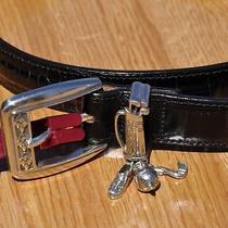 New Brighton Women's Belt Silver Golf Bag Buckle Black Leather Sz M/l 32 Photo