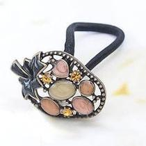 New Bronze Pink Strawberry Crystals Korean Fancy Metal Hair Ponytail Holder Gift Photo