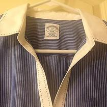 New Brooks Brothers 346 Womens 12p Blue Striped Long Sleeve Non-Iron White Cuff Photo