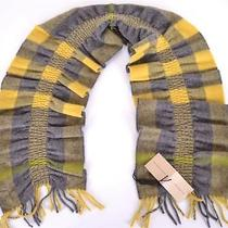 New Burberry 100% Cashmere Lemon Quartz Yellow Nova Check Ruched Scarf Muffler Photo