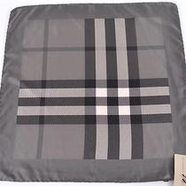 New Burberry 175 100% Silk Charcoal Exploded Beat Nova Check Square Twill Scarf Photo