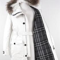 New Burberry 2395 Raccoon & Rabbit Fur Duck Down Nova Check Parka Coat42 52 Photo