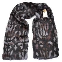 New Burberry 995 Mid Grey Printed Rabbit Fur Scarf Stole Photo