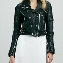 New Burberry Brit Iconic Black Quilted Leather Moto Jacketsize It 46 Us 12  Photo